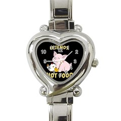 Friends Not Food   Cute Pig And Chicken Heart Italian Charm Watch by Valentinaart