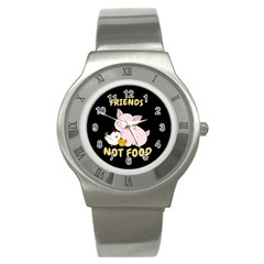 Friends Not Food   Cute Pig And Chicken Stainless Steel Watch by Valentinaart