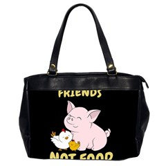 Friends Not Food   Cute Pig And Chicken Office Handbags (2 Sides)  by Valentinaart