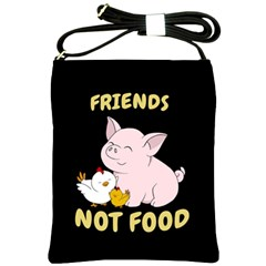 Friends Not Food   Cute Pig And Chicken Shoulder Sling Bags by Valentinaart