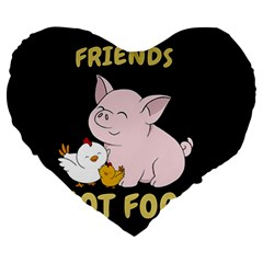 Friends Not Food   Cute Pig And Chicken Large 19  Premium Heart Shape Cushions by Valentinaart