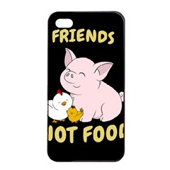 Friends Not Food   Cute Pig And Chicken Apple Iphone 4/4s Seamless Case (black) by Valentinaart