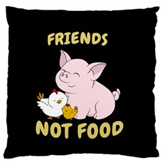 Friends Not Food   Cute Pig And Chicken Large Flano Cushion Case (two Sides) by Valentinaart