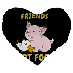 Friends Not Food   Cute Pig And Chicken Large 19  Premium Flano Heart Shape Cushions by Valentinaart