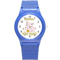 Friends Not Food   Cute Pig And Chicken Round Plastic Sport Watch (s) by Valentinaart
