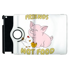 Friends Not Food   Cute Pig And Chicken Apple Ipad 2 Flip 360 Case by Valentinaart