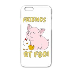 Friends Not Food   Cute Pig And Chicken Apple Iphone 6/6s White Enamel Case by Valentinaart