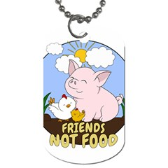 Friends Not Food   Cute Pig And Chicken Dog Tag (two Sides) by Valentinaart
