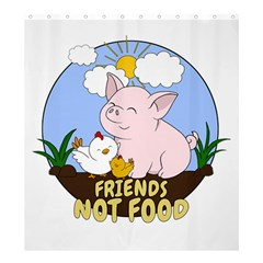 Friends Not Food   Cute Pig And Chicken Shower Curtain 66  X 72  (large)  by Valentinaart