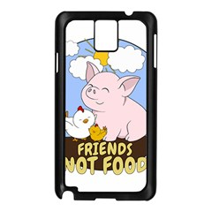 Friends Not Food   Cute Pig And Chicken Samsung Galaxy Note 3 N9005 Case (black) by Valentinaart