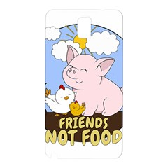 Friends Not Food   Cute Pig And Chicken Samsung Galaxy Note 3 N9005 Hardshell Back Case by Valentinaart