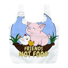 Friends Not Food   Cute Pig And Chicken Full Print Recycle Bags (l)  by Valentinaart