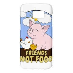 Friends Not Food   Cute Pig And Chicken Samsung Galaxy S7 Edge Hardshell Case by Valentinaart