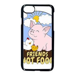 Friends Not Food   Cute Pig And Chicken Apple Iphone 7 Seamless Case (black) by Valentinaart