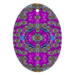 Spring Time In Colors And Decorative Fantasy Bloom Ornament (oval) by pepitasart