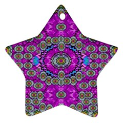 Spring Time In Colors And Decorative Fantasy Bloom Star Ornament (two Sides) by pepitasart