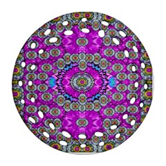 Spring Time In Colors And Decorative Fantasy Bloom Round Filigree Ornament (two Sides) by pepitasart