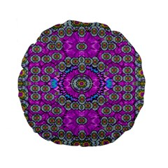 Spring Time In Colors And Decorative Fantasy Bloom Standard 15  Premium Flano Round Cushions by pepitasart
