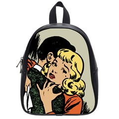 Hugging Retro Couple School Bag (small) by vintage2030