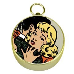 Hugging Retro Couple Gold Compasses by vintage2030
