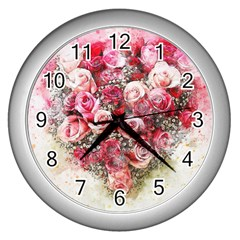 Flowers 2548756 1920 Wall Clocks (silver)  by vintage2030