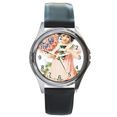 Girl 1731727 1920 Round Metal Watch by vintage2030
