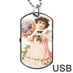 Girl 1731727 1920 Dog Tag Usb Flash (one Side) by vintage2030