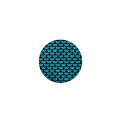 Scales3 Black Marble & Turquoise Glitter 1  Mini Magnets by trendistuff