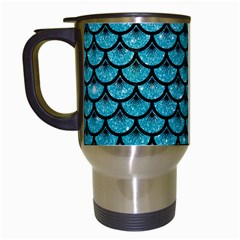 Scales3 Black Marble & Turquoise Glitter Travel Mugs (white) by trendistuff