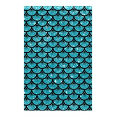 Scales3 Black Marble & Turquoise Glitter Shower Curtain 48  X 72  (small)  by trendistuff