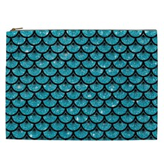 Scales3 Black Marble & Turquoise Glitter Cosmetic Bag (xxl)  by trendistuff