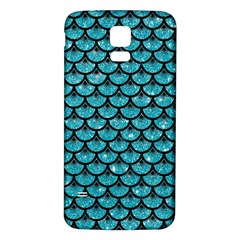 Scales3 Black Marble & Turquoise Glitter Samsung Galaxy S5 Back Case (white) by trendistuff