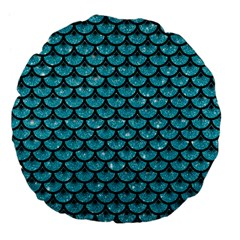 Scales3 Black Marble & Turquoise Glitter Large 18  Premium Flano Round Cushions by trendistuff