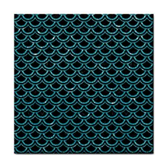 Scales2 Black Marble & Turquoise Glitter (r) Face Towel