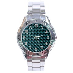 Scales2 Black Marble & Turquoise Glitter (r) Stainless Steel Analogue Watch by trendistuff