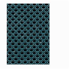 Scales2 Black Marble & Turquoise Glitter (r) Large Garden Flag (two Sides) by trendistuff