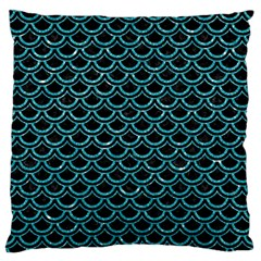 Scales2 Black Marble & Turquoise Glitter (r) Large Flano Cushion Case (two Sides) by trendistuff