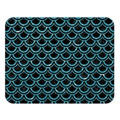 Scales2 Black Marble & Turquoise Glitter (r) Double Sided Flano Blanket (large)  by trendistuff