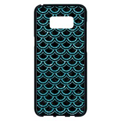 Scales2 Black Marble & Turquoise Glitter (r) Samsung Galaxy S8 Plus Black Seamless Case by trendistuff