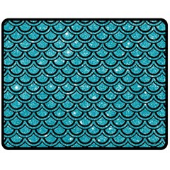 Scales2 Black Marble & Turquoise Glitter Fleece Blanket (medium)  by trendistuff