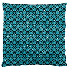 Scales2 Black Marble & Turquoise Glitter Large Flano Cushion Case (two Sides) by trendistuff
