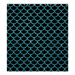 Scales1 Black Marble & Turquoise Glitter (r) Shower Curtain 66  X 72  (large)  by trendistuff