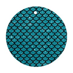 Scales1 Black Marble & Turquoise Glitter Round Ornament (two Sides) by trendistuff
