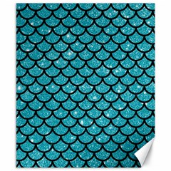 Scales1 Black Marble & Turquoise Glitter Canvas 8  X 10  by trendistuff