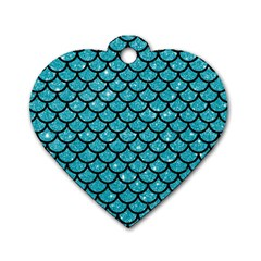 Scales1 Black Marble & Turquoise Glitter Dog Tag Heart (one Side) by trendistuff