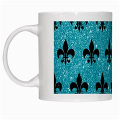 Royal1 Black Marble & Turquoise Glitter (r) White Mugs by trendistuff