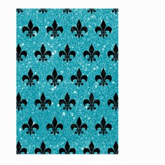 Royal1 Black Marble & Turquoise Glitter (r) Large Garden Flag (two Sides) by trendistuff