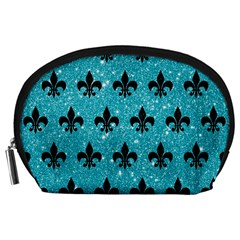Royal1 Black Marble & Turquoise Glitter (r) Accessory Pouches (large)  by trendistuff