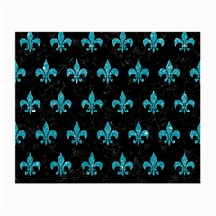 Royal1 Black Marble & Turquoise Glitter Small Glasses Cloth (2 Side) by trendistuff