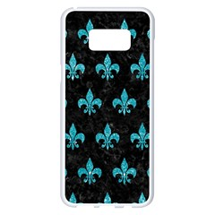 Royal1 Black Marble & Turquoise Glitter Samsung Galaxy S8 Plus White Seamless Case by trendistuff